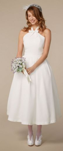 Tea length bridal bow dress